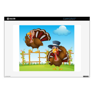 A turkey above the wooden fence and a turkey weari laptop skins