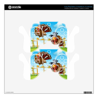 A turkey above the wooden fence and a turkey weari PS3 controller skin