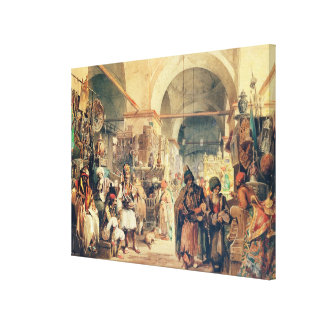 A Turkish Bazaar, 1854 (pencil & w/c on paper) Canvas Print