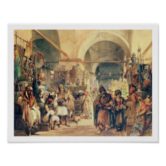 A Turkish Bazaar, 1854 (pencil & w/c on paper) Poster