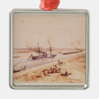 A Turkish Paddle Steamer Going Up the Suez Canal Metal Ornament