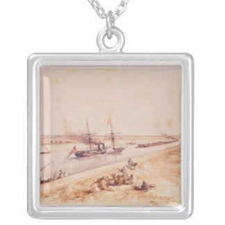 A Turkish Paddle Steamer Going Up the Suez Canal Silver Plated Necklace