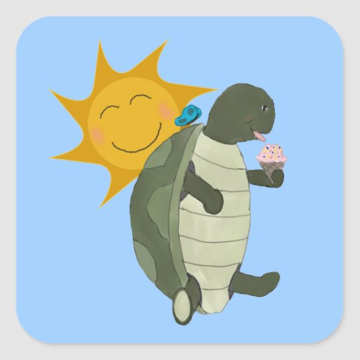 A Turtle Eating Ice Cream Stickers