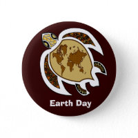 A Turtle For Earth Day On A Badge Button button