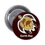 A Turtle For Earth Day On A Badge Button 2 Inch Round Button
