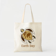 A Turtle For Earth Day On A Canvas Tote Bag at Zazzle