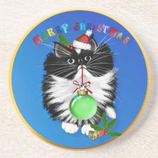 A Tuxedo Kitten Christmas Cork Coaster