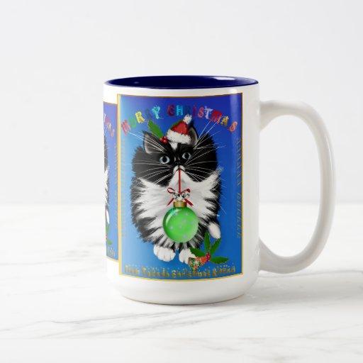 A Tuxedo Kitten Christmas Mug