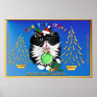 A Tuxedo Kitten Christmas Poster