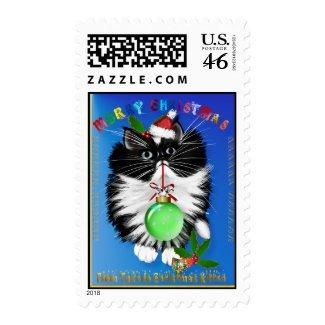 A Tuxedo Kitten Christmas Stamp