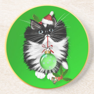 A Tuxedo Merry Christmas Cork Coaster