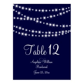 A Twinkle Lights Table Number (navy)
