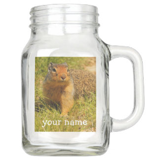 A Twitchy-Nosed Columbian Ground Squirrel Mason Jar