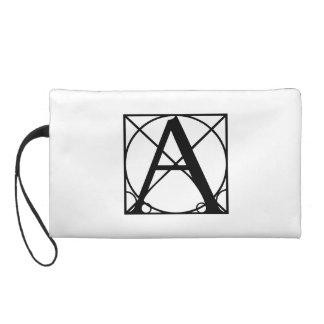 A - Typography Initial Wristlet Purse