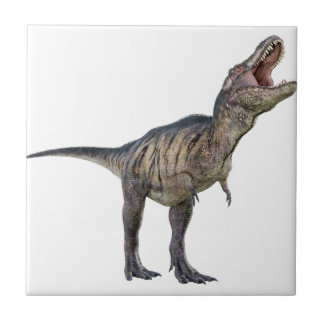 A Tyrannosaurus Rex Looking Up and Roaring Ceramic Tile