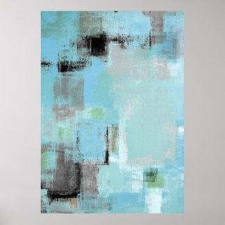 """""""A un lado"""" impresión gris y azul del poster del"""