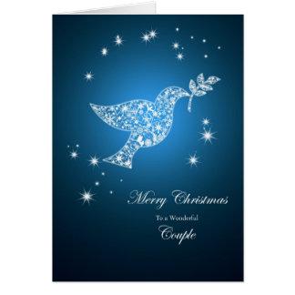 A un par, paloma de la tarjeta de Navidad de la pa