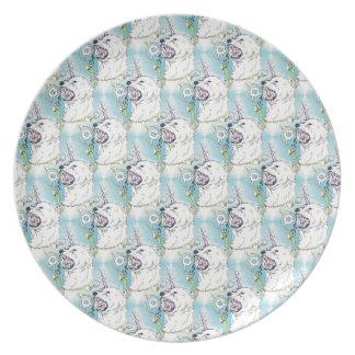 a unicorn polar bear dinner plate
