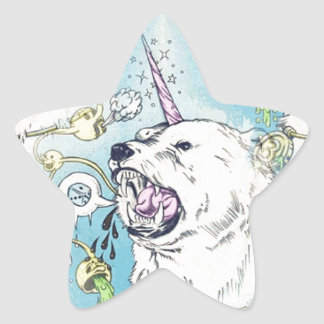 a unicorn polar bear star sticker