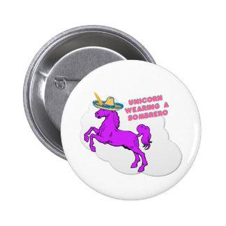 A unicorn wearing a sombrero button