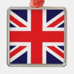 A Union Jack flag. Square Metal Christmas Ornament
