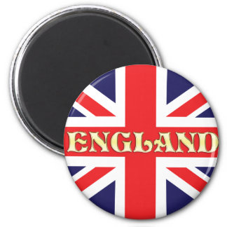 A Union Jack flag with England written on it 2 Inch Round Magnet