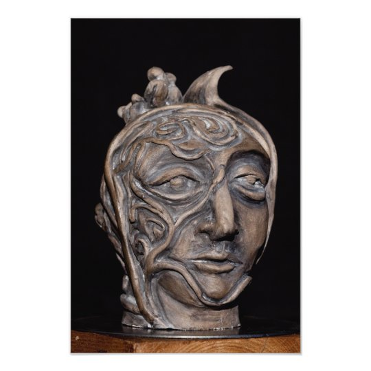 A unique head made by clay photo print