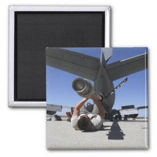 A US Air Force Airman lifts the boom of a KC-13 2 Inch Square Magnet