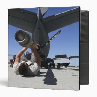 A US Air Force Airman lifts the boom of a KC-13 3 Ring Binder