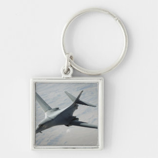 A US Air Force  B-1B Lancer on a combat patrol Silver-Colored Square Keychain