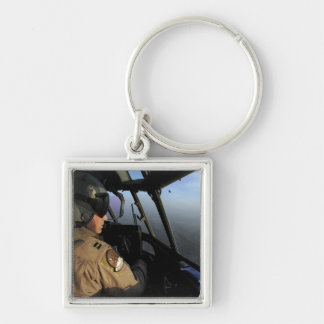 A US Air Force C-130J Hercules pilot Silver-Colored Square Keychain