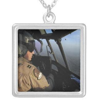 A US Air Force C-130J Hercules pilot Square Pendant Necklace