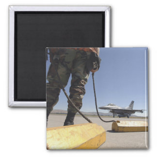 A US Air Force crew chief 2 Inch Square Magnet
