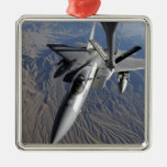 A US Air Force F-15 Eagle Square Metal Christmas Ornament