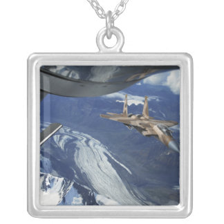 A US Air Force F-15C Eagle positioning itself Silver Plated Necklace