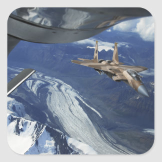A US Air Force F-15C Eagle positioning itself Square Sticker