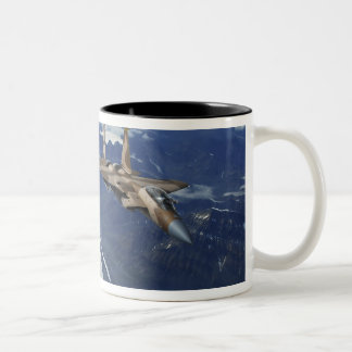 A US Air Force F-15C Eagle positioning itself Two-Tone Coffee Mug