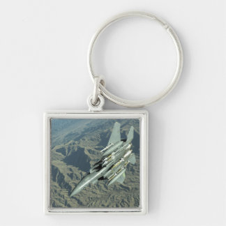A US Air Force  F-15E Strike Eagle Silver-Colored Square Keychain