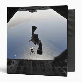 A US Air Force pararescueman jumping out 3 Ring Binder