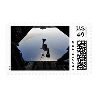 A US Air Force pararescueman jumping out Stamp