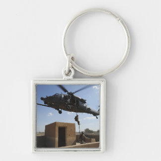 A US Air Force Pararescuemen Silver-Colored Square Keychain