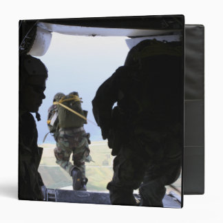 A US Army Soldier performs a static-line jump Binder