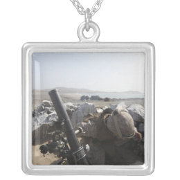 A US Marine fires a mortar in Salinas, Peru Silver Plated Necklace