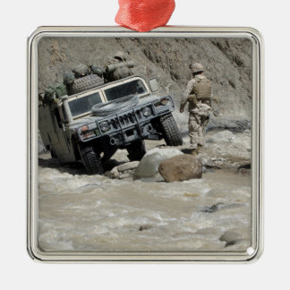 A US Marine guiding the driver of a Humvee Metal Ornament