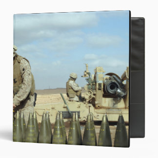 A US Marine prepares howitzer rounds to be fire 3 Ring Binder