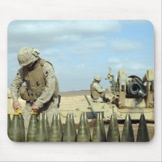 A US Marine prepares howitzer rounds to be fire Mouse Pad