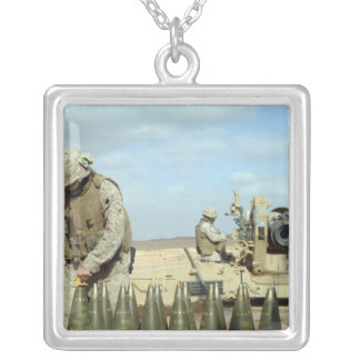 A US Marine prepares howitzer rounds to be fire Silver Plated Necklace