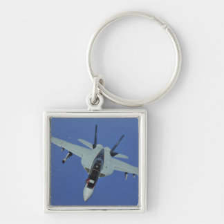 A US Navy F/A-18F Super Hornet in flight Silver-Colored Square Keychain
