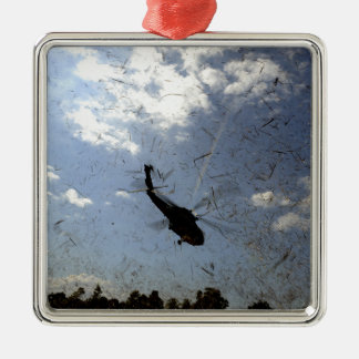 A US Navy HH-60 Seahawk Square Metal Christmas Ornament