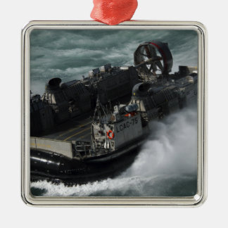 A US Navy Landing Craft Air Cushion Square Metal Christmas Ornament